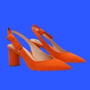 Zara orange pump heels